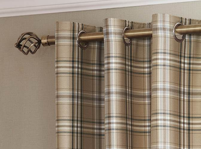 Tartan Check Lined Eyelet Curtains Ready Made Ring top Brown Aubergine Blue   eBay