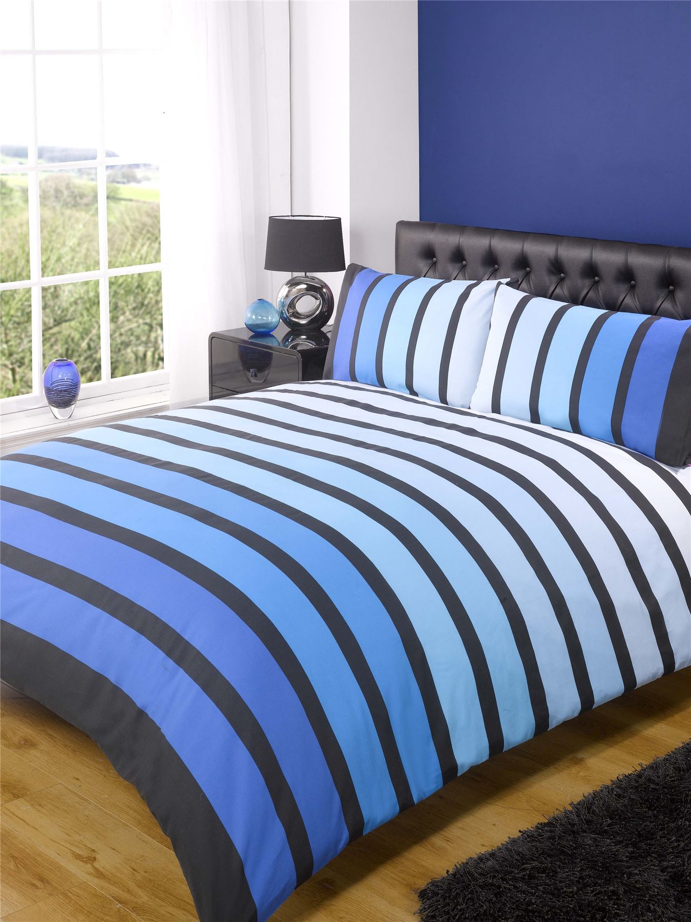 Soho Modern Striped Duvet Cover Quilt Set Blue Black Ebay