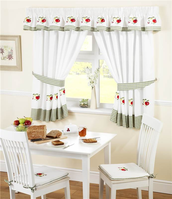 GINGHAM FRUITS KITCHEN CURTAINS / PELMET / CAFE PANEL