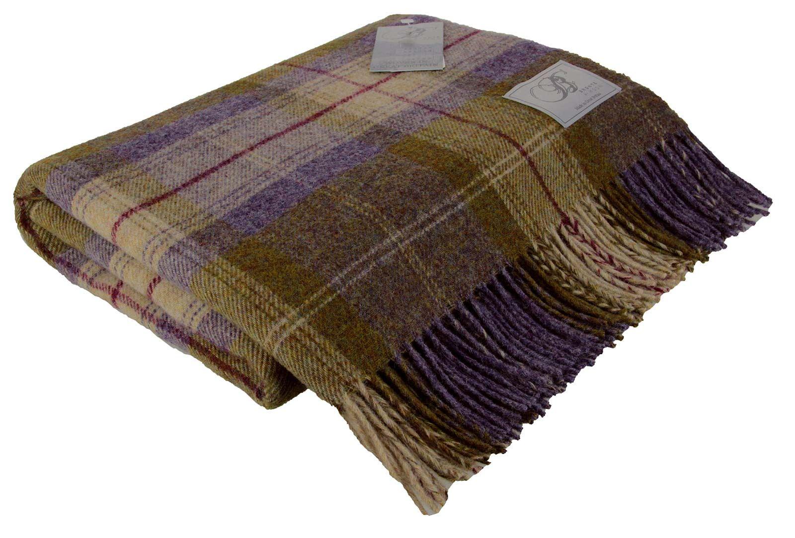 bronte by moon  wool throw blanket tartan check spot made in  - brontebymoonwoolthrowblankettartan