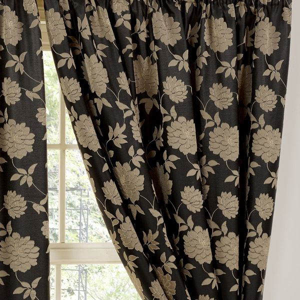 Curtains Ideas black and khaki curtains : Fully Lined Ready Made Curtains, Pencil Pleat Curtain Pair, Black ...