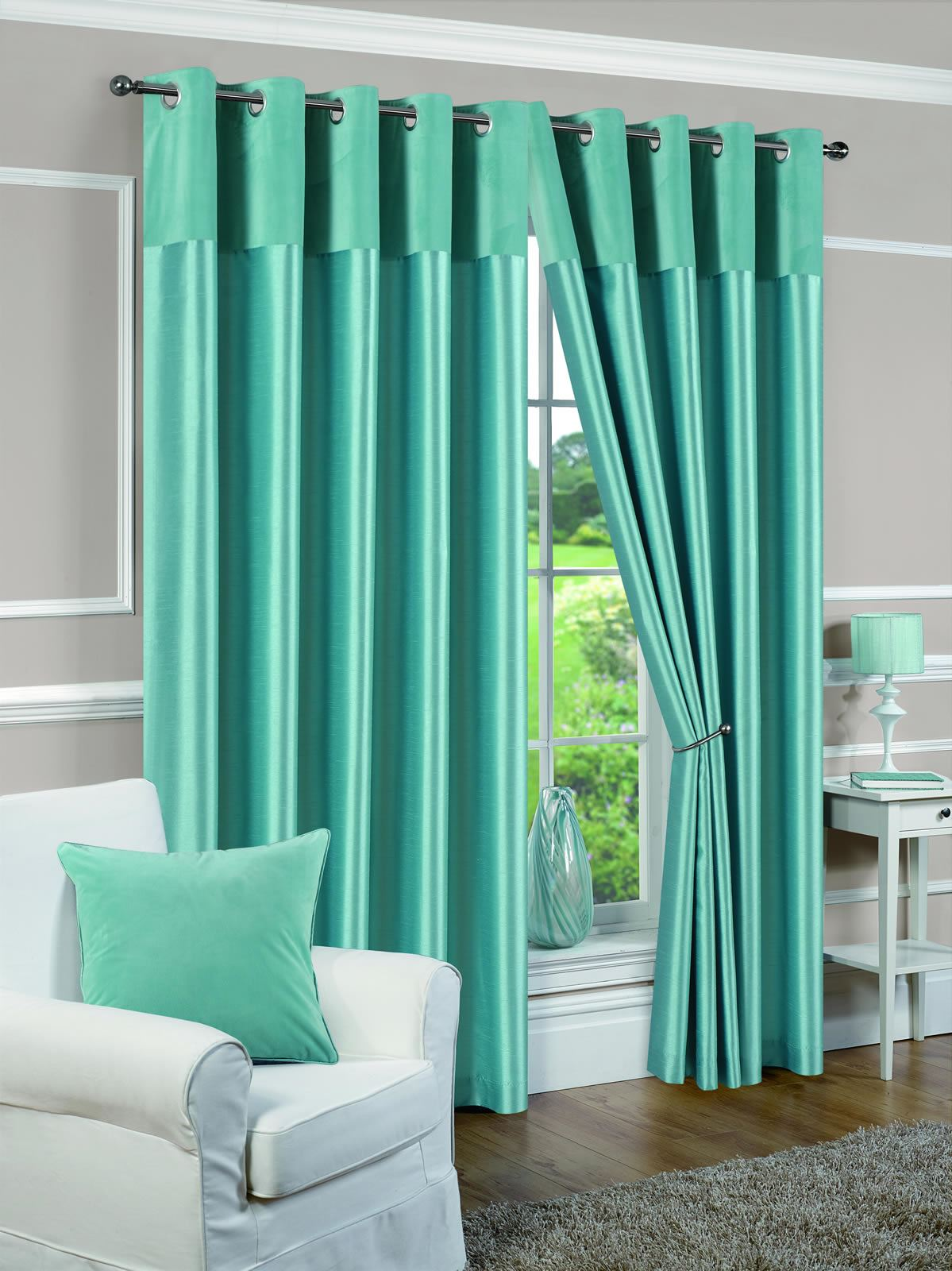 eyelet fully lined ready made curtains ring top pair white. Black Bedroom Furniture Sets. Home Design Ideas