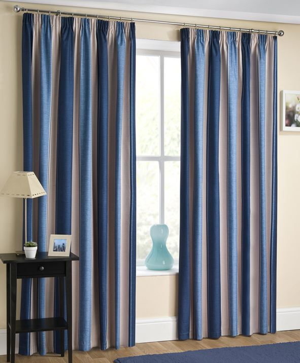 twilight block out thermal lined tape top curtains striped pencil pleat pairs ebay. Black Bedroom Furniture Sets. Home Design Ideas