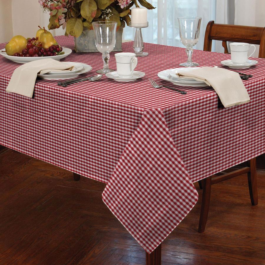 COUNTRY STYLE GINGHAM CHECK TABLE CLOTH SQUARE ROUND