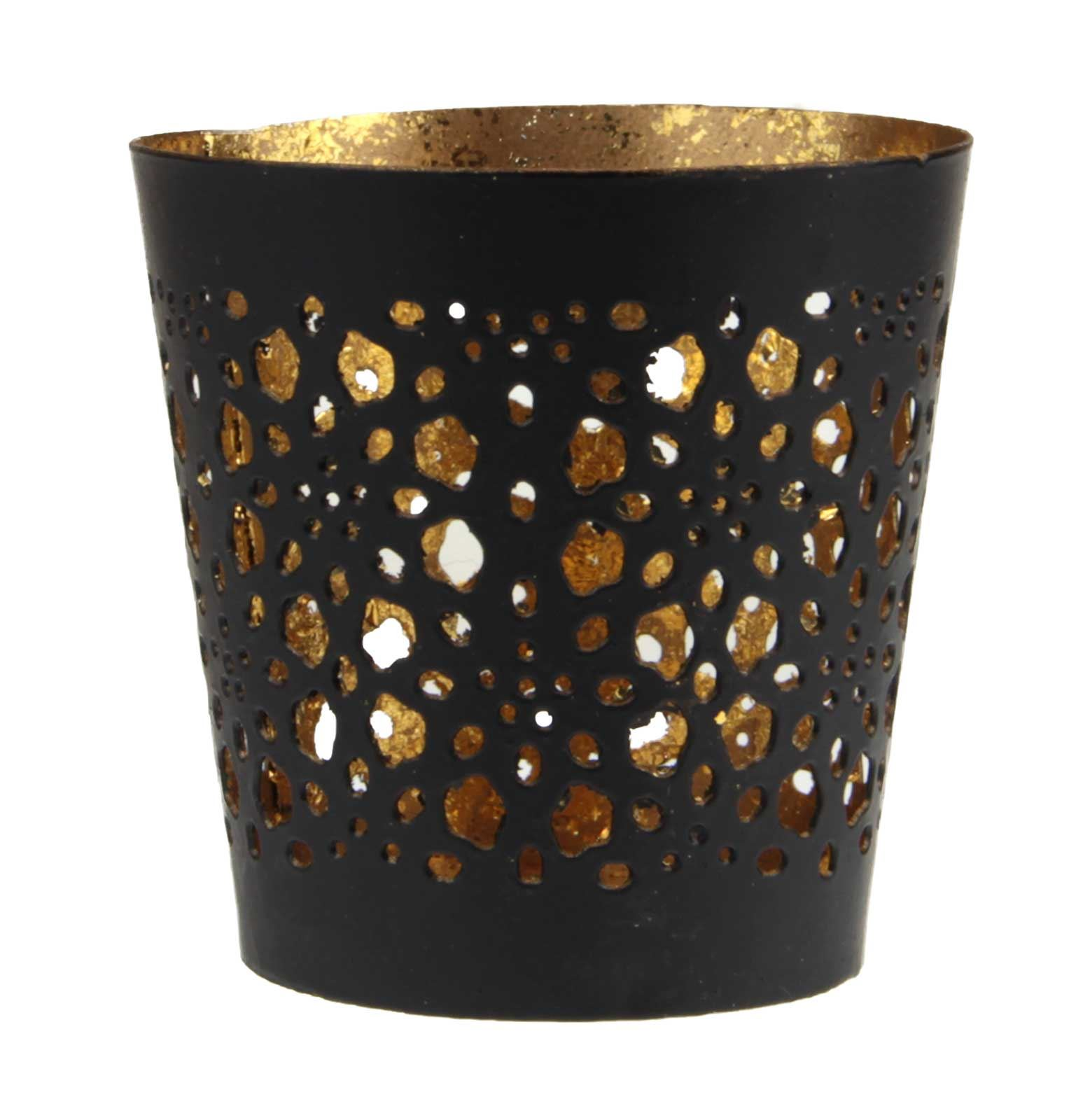 Vintage Iron Cut Out Candle Tealight Holder Black Gold Ebay