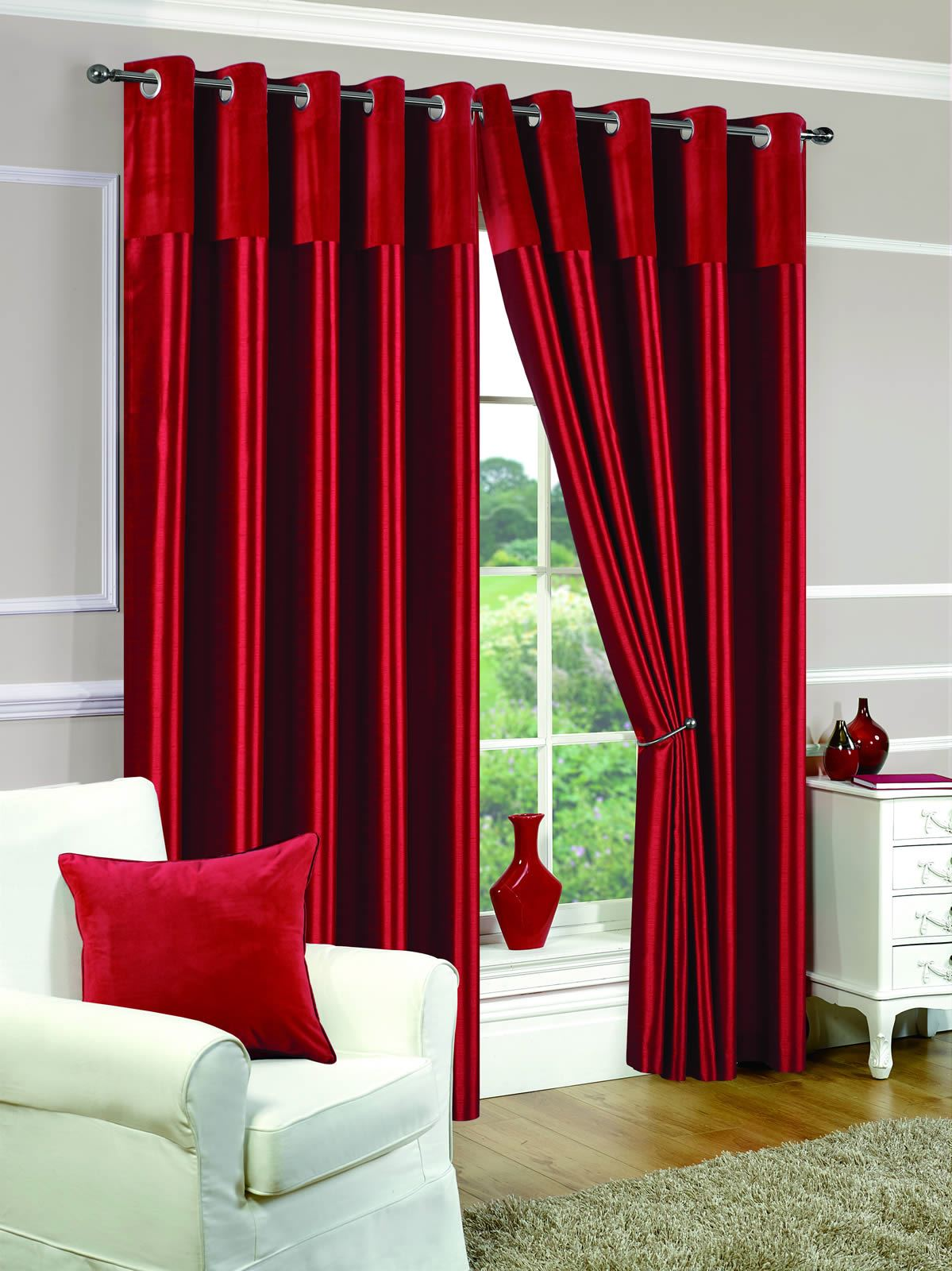 EYELET FULLY LINED READY MADE CURTAINS RING TOP