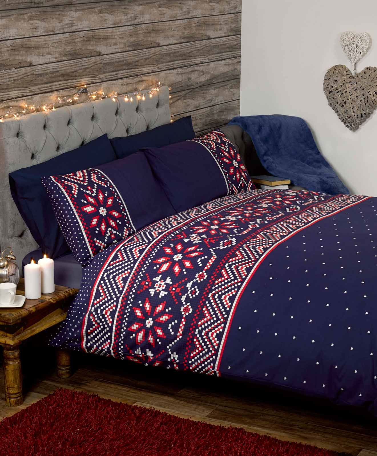 Nordic Fairisle Christmas Duvet Covers Quilt Sets Navy Red