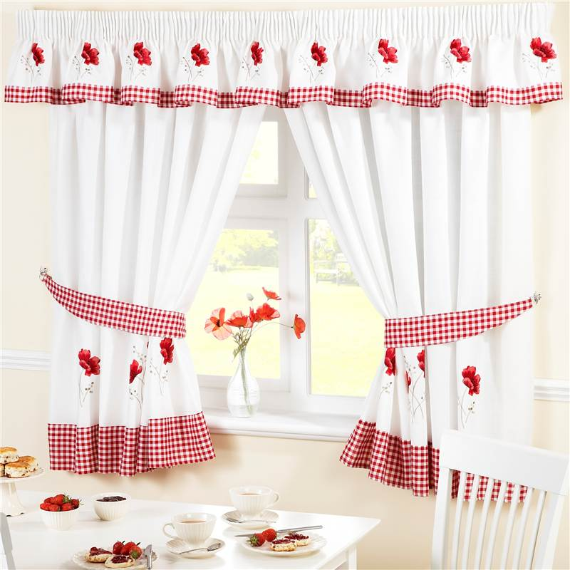 Red Poppies Kitchen Curtains Pelmet Cafe Panels Seat Pads Ebay