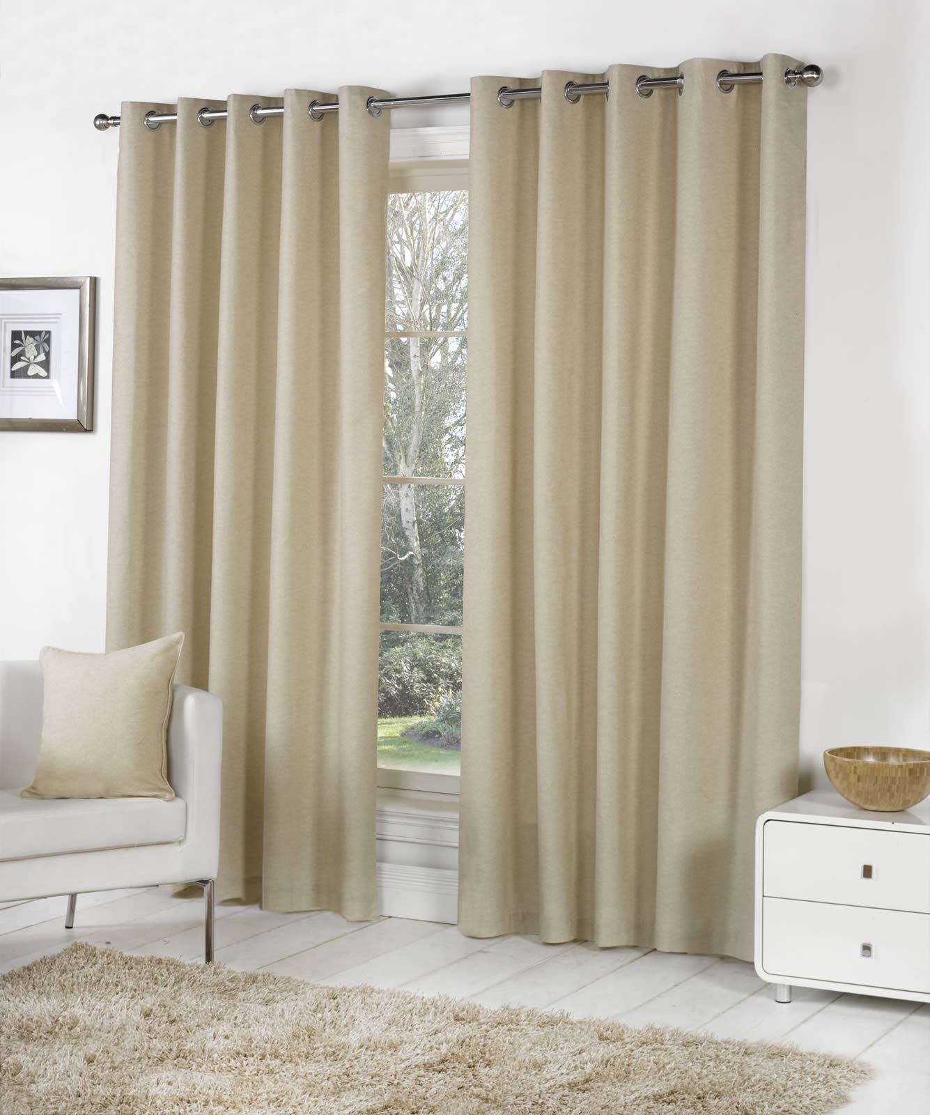 SORBONNE LINED EYELET CURTAINS 100% COTTON READY MADE RING