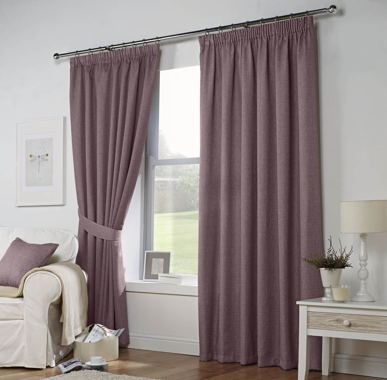 CURTINA LEIGHTON LINED WOVEN TAPE TOP CURTAINS READY
