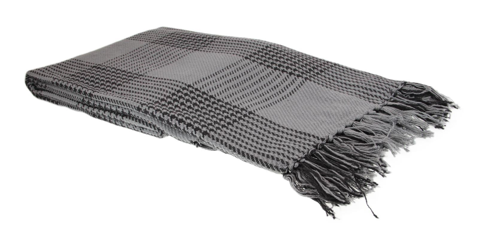 Super Soft Tartan Throw 100% Cotton Plaid Check Bedspread, Black Grey Natural