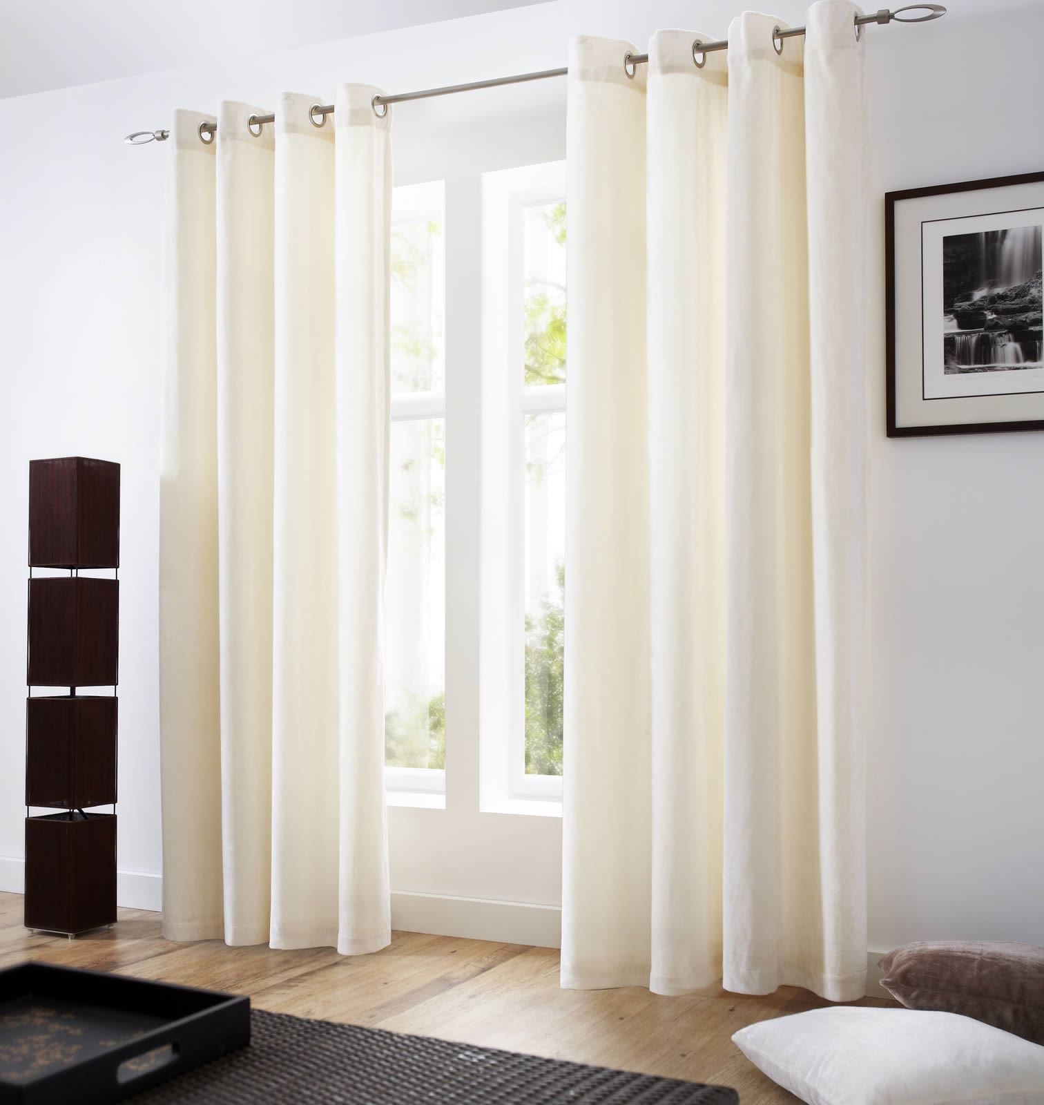 VELVET EYELET CURTAINS LINED RINGTOP CURTAIN PAIRS GREY