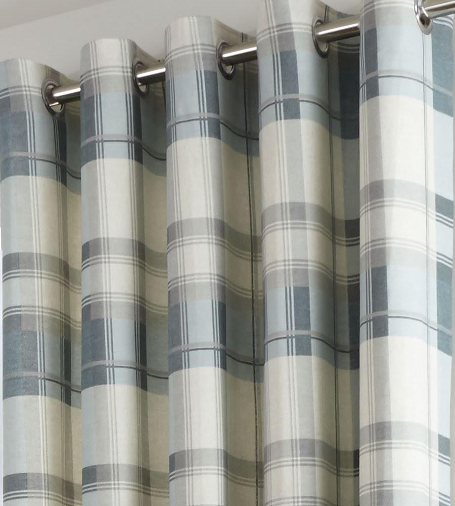 Balmoral Tartan Check Lined Eyelet Curtains Cotton Grey