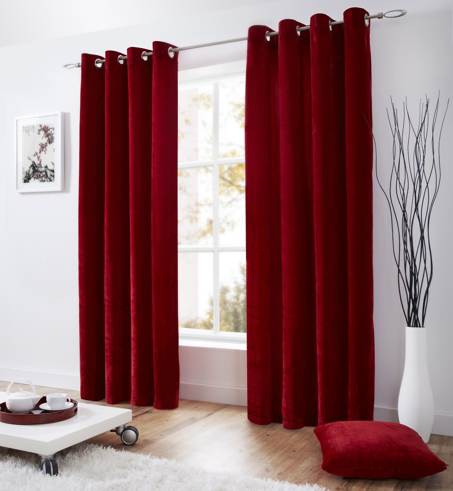Side Door Window Curtains Open Red Velvet Curtains