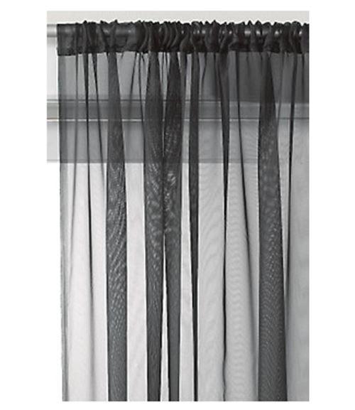 slot top sheer voile rod pocket window door curtain panel ebay. Black Bedroom Furniture Sets. Home Design Ideas