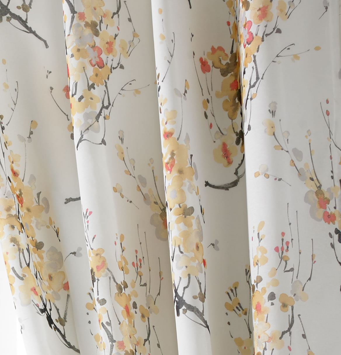TOKYO CHERRY BLOSSOM LINED EYELET CURTAINS FLORAL TREE