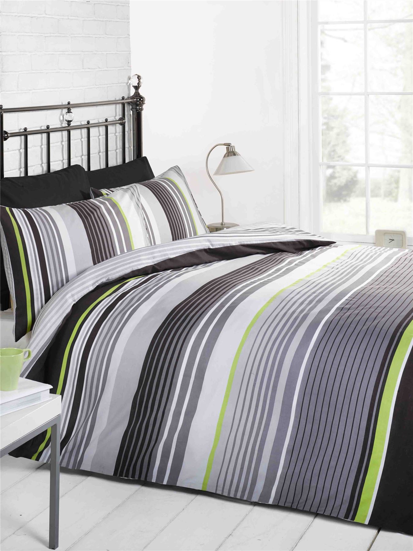 CAMBRIDGE STRIPE MODERN DUVET COVER QUILT SET BLACK GREY