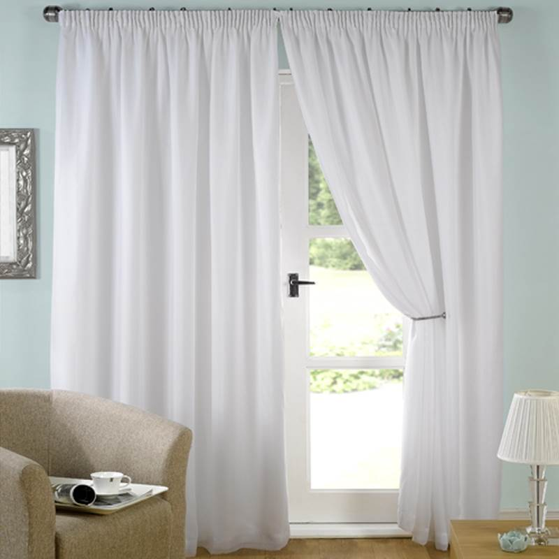 White Lined Curtains Voile Tape Top Evie All Sizes