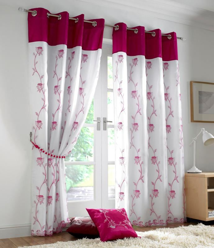 tahiti floral lined eyelet voile curtains ready made. Black Bedroom Furniture Sets. Home Design Ideas