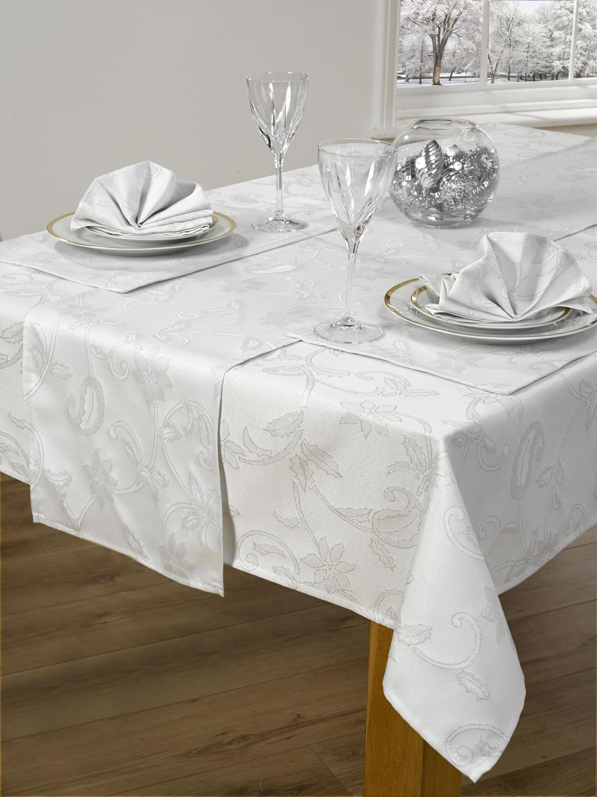 Hand-block printed in Sanganer, India, this rectangle tablecloth fits most standard dining room tables. All of the Jubilee Traders linens are produced by artisans using a traditional method of hand-block printing that has been an important art in the Rajasthan region of India for generations.
