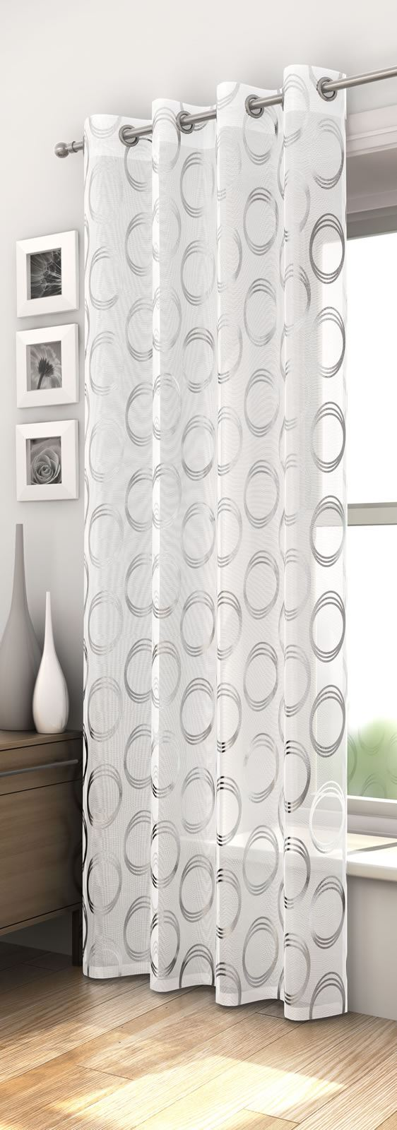 MEXICO RETRO CIRCLE PATTERN VOILE CURTAIN PANEL READY MADE RED BLACK ...
