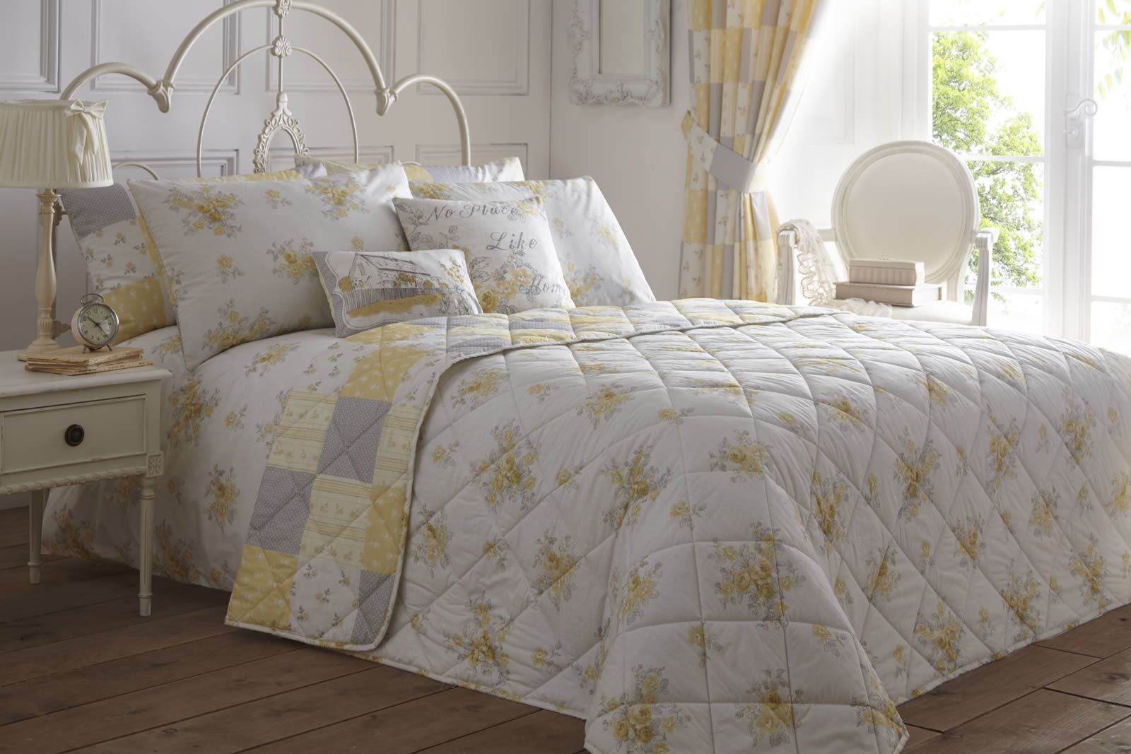 Lemon And Grey Bedroom Lemon Reversible Patchwork Floral Duvet Cover Easy Care Quilt