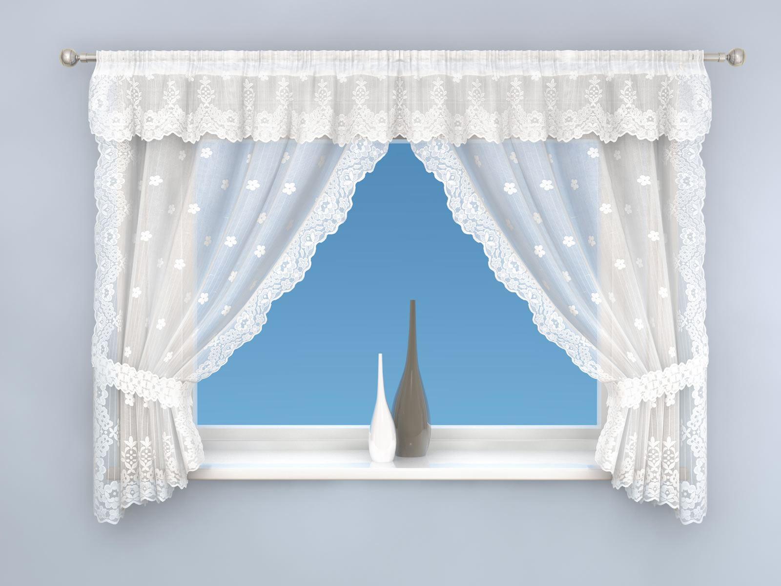 HONEY FLORAL LACE CURTAINS COMPLETE WINDOW TREATMENT SET
