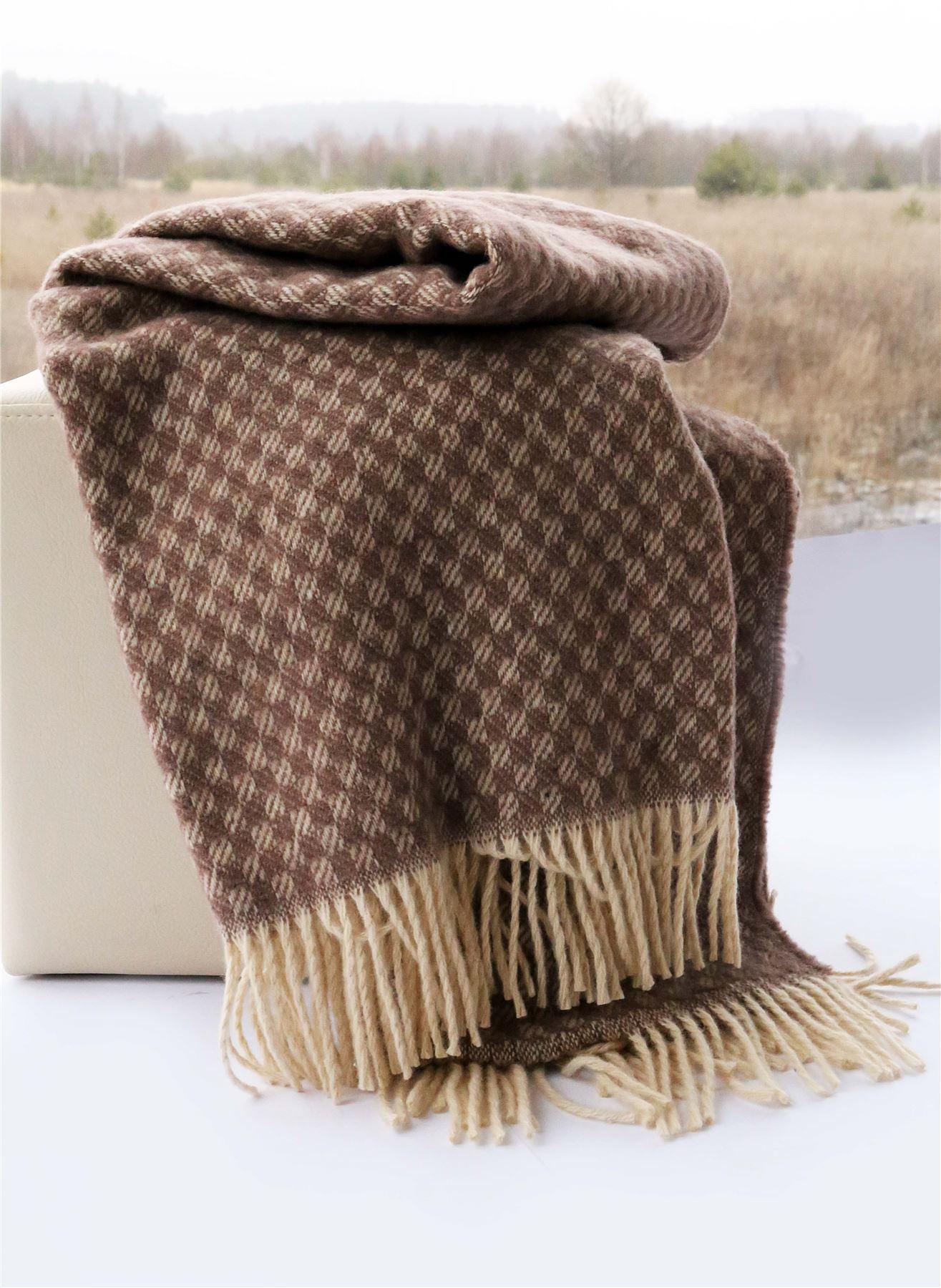 100 laine z lande couverture laine carreaux couvre lit 140cm x 200cm. Black Bedroom Furniture Sets. Home Design Ideas