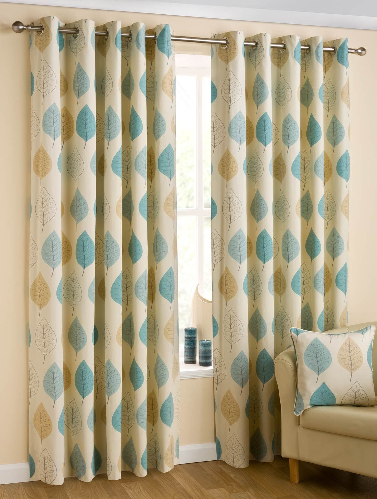 modern leaf eyelet lined curtains ring top curtain pair red duck egg blue ebay. Black Bedroom Furniture Sets. Home Design Ideas