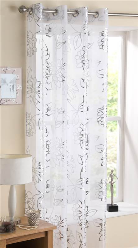 Silver Foil Printed Eyelet Voile Curtain Panel Mayfair Pink, White ...