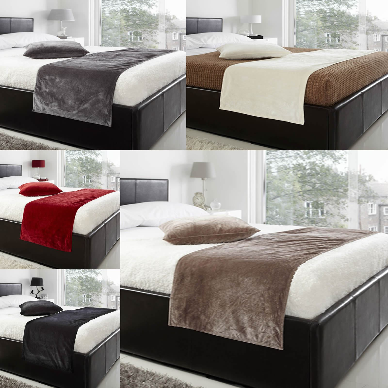 velours de luxe couvre lit lit coureur beige noir gris rouge cr me ebay. Black Bedroom Furniture Sets. Home Design Ideas