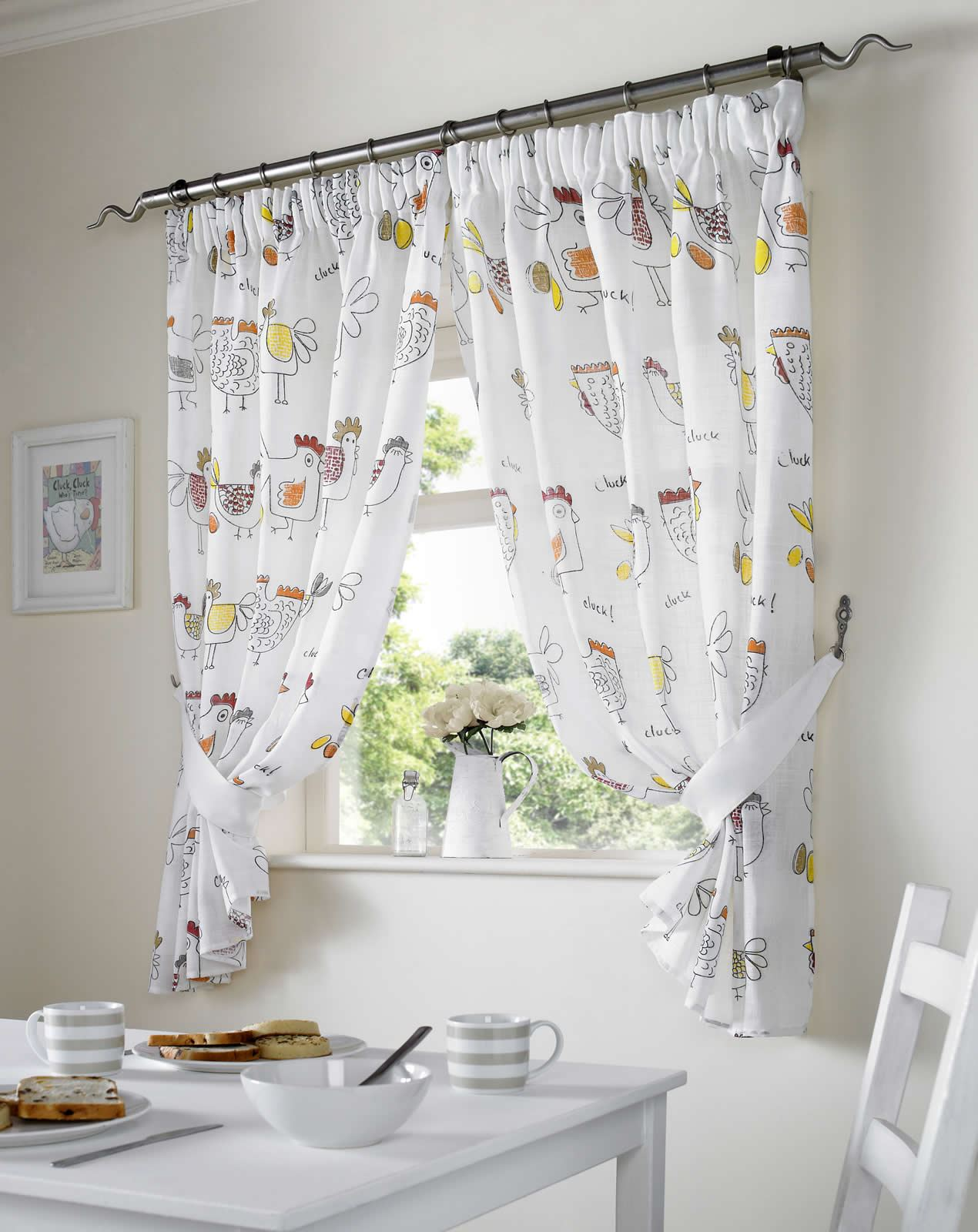 chickens rooster country style kitchen curtain set window drapes dining room. Black Bedroom Furniture Sets. Home Design Ideas