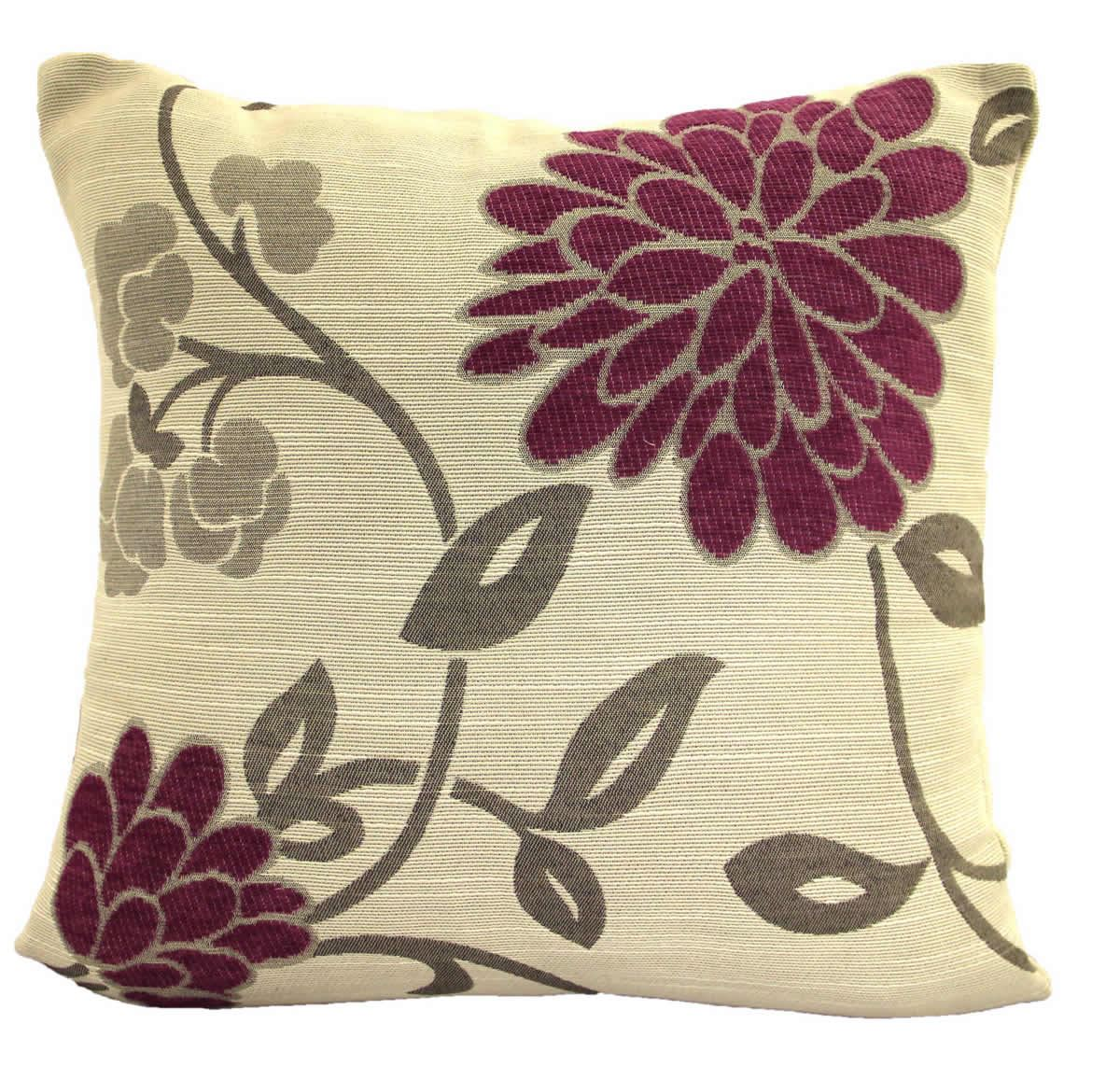 Chenille Throw Pillow Covers : CHRYSTIE LUXURY FLORAL CHENILLE CUSHION COVER 18