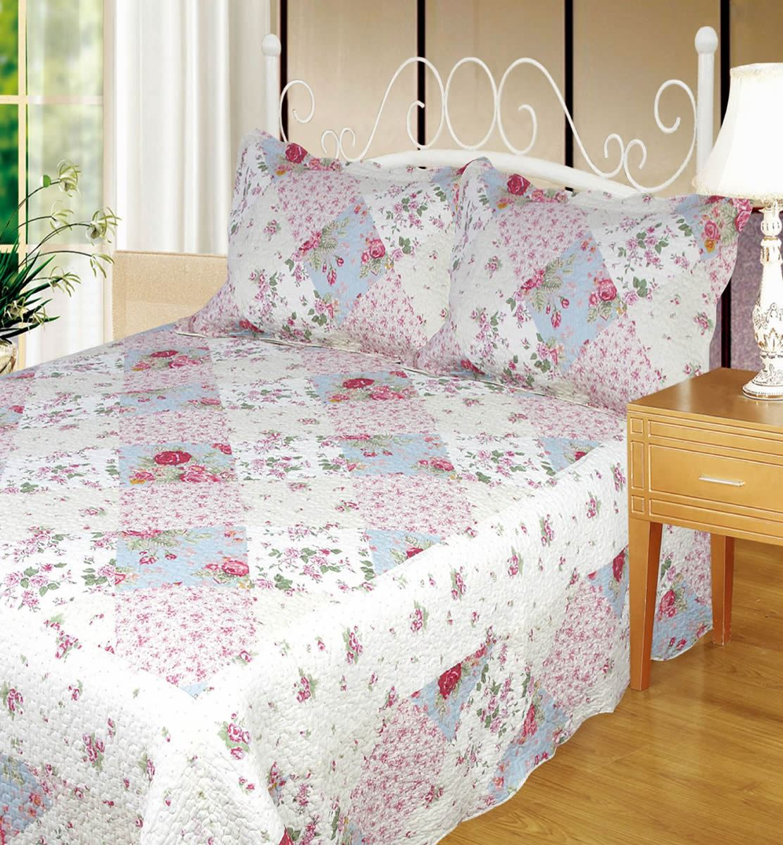 Quilted Patchwork Bedspread 100% Cotton Single Double King Ariana