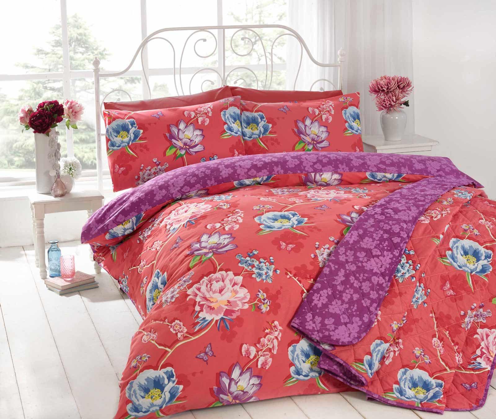 sapporo modern floral duvet quilt doona cover poly cotton japanese  - sapporomodernfloralduvetquiltdoonacoverpoly