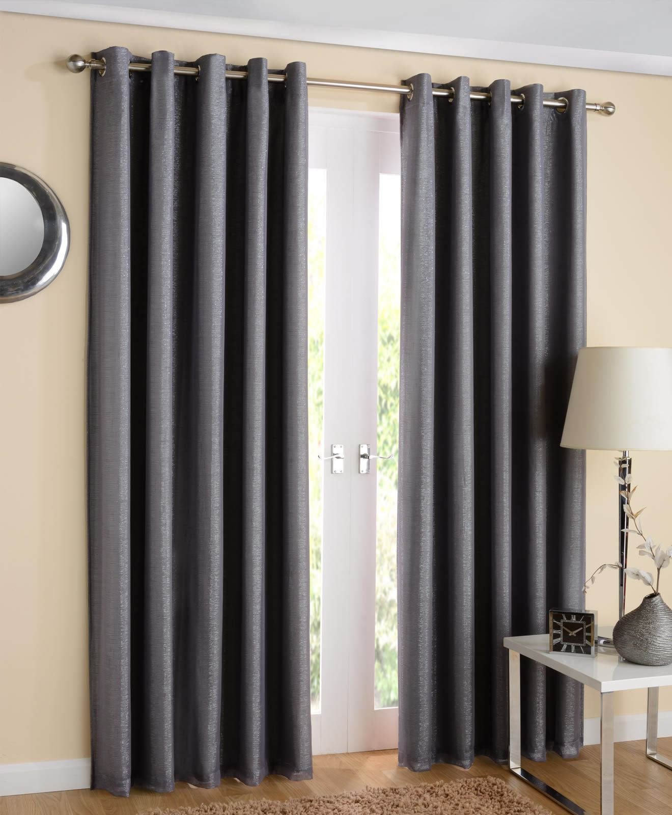 Thermal curtains grey - Santiago Eyelet Curtains Sparkle Lined Voiles Ready Made