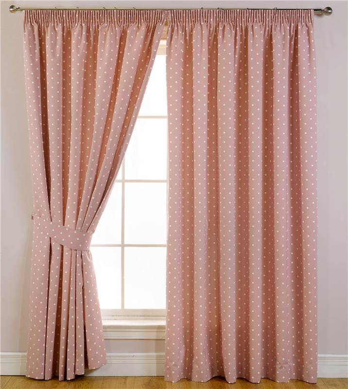 Dotty Blackout Polka Dot Lined Tape Top Curtains Pencil