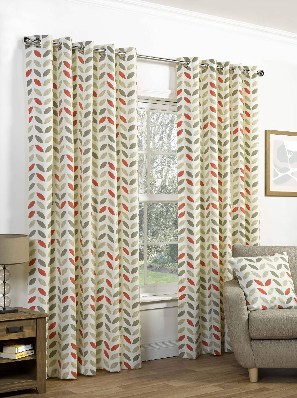 Lined Eyelet Curtains Cotton Ready Made Curtain Pairs Grey