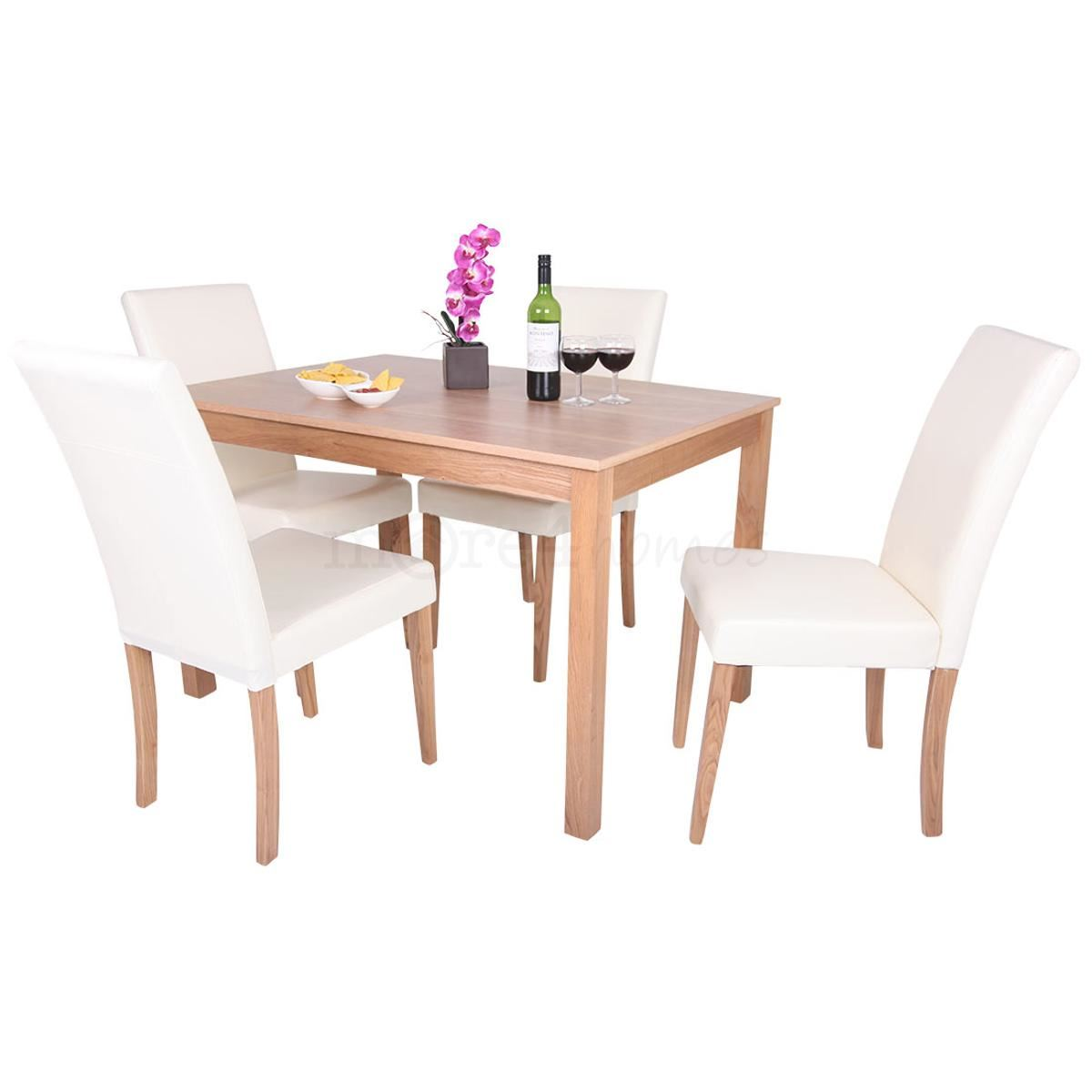 Oakden oak veneer dining table and 4 x cream leather high for High chair dining table set