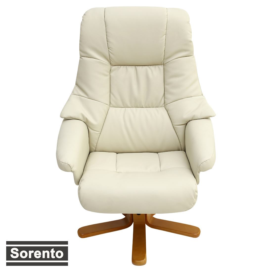 Sorento Real Leather Cream Swivel Recliner Chair W Foot Stool Armchair Office Ebay