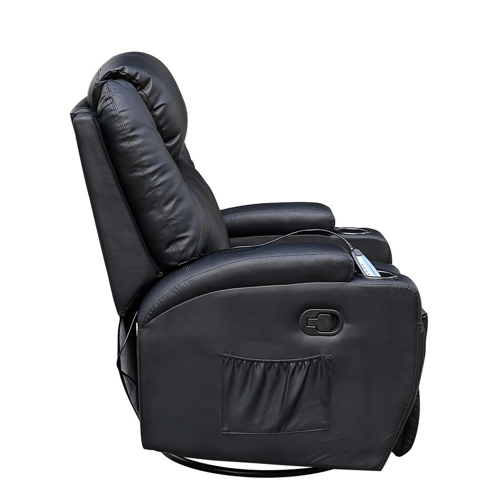 Cinemo Black Leather Recliner Chair Rocking Massage Swivel