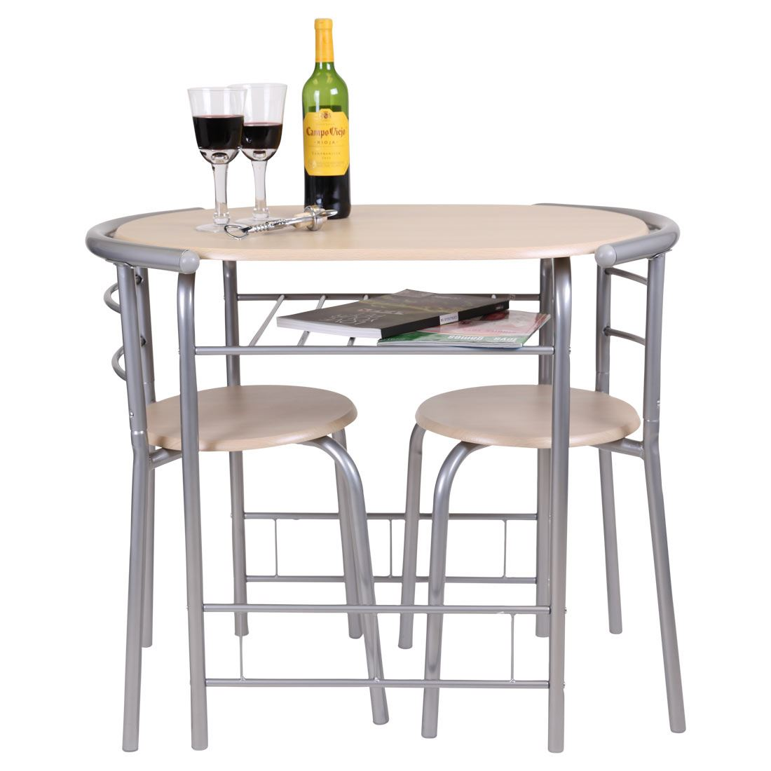 Chicago 3 piece dining table and 2 chair set breakfast kitchen bistro bar ebay - Bench kitchen set ...