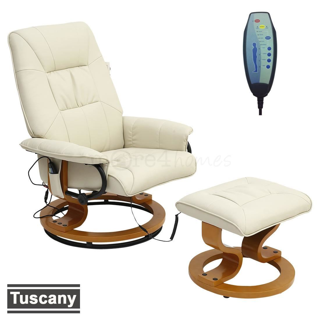 Tuscany Real Leather Cream Swivel Recliner Massage Chair W