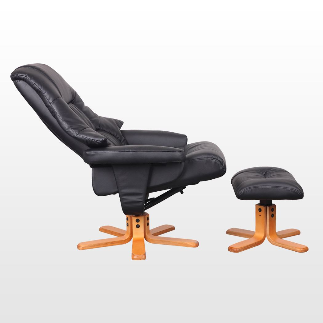 Sorento real leather black swivel recliner chair w foot stool armchair office ebay - Swivel feet for chairs ...