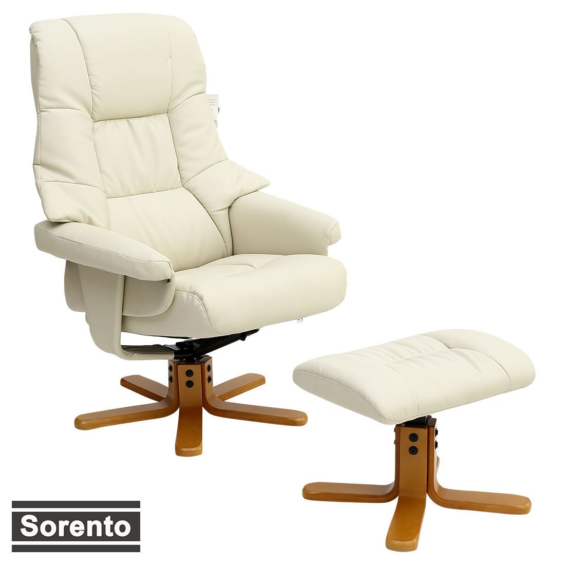 sorento real leather cream swivel recliner chair w foot stool armchair