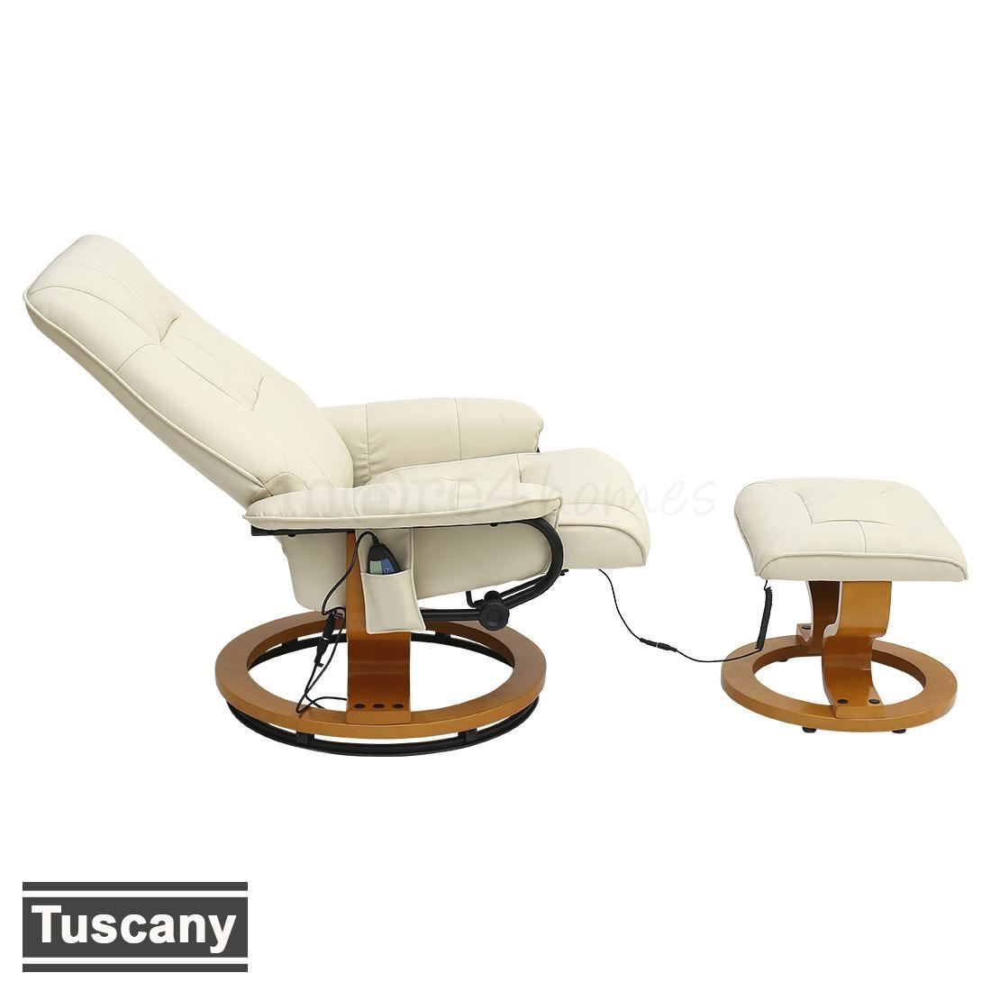 real leather swivel recliner chair and foot stool cream blac