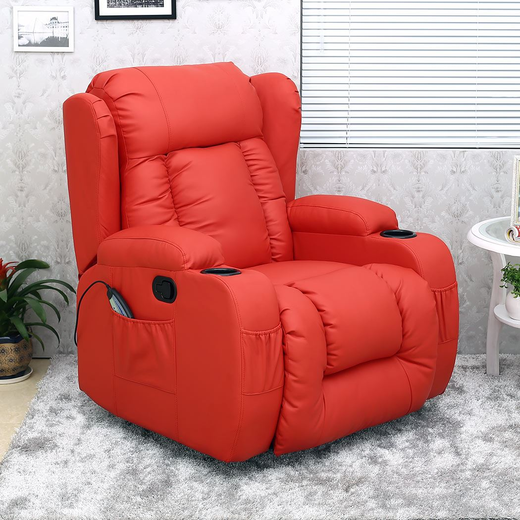 Red Leather Rocking Chair ~ Caesar red winged leather recliner chair rocking massage