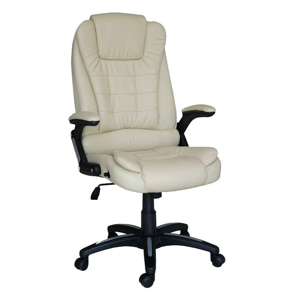 RIO BROWN LUXURY RECLINING EXECUTIVE OFFICE DESK CHAIR FAUX LEATHER HIGH BACK