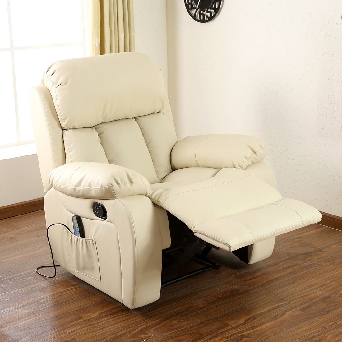 Chester Cream Heated Leather Massage Recliner Chair Sofa Gaming Home Armchair Ebay