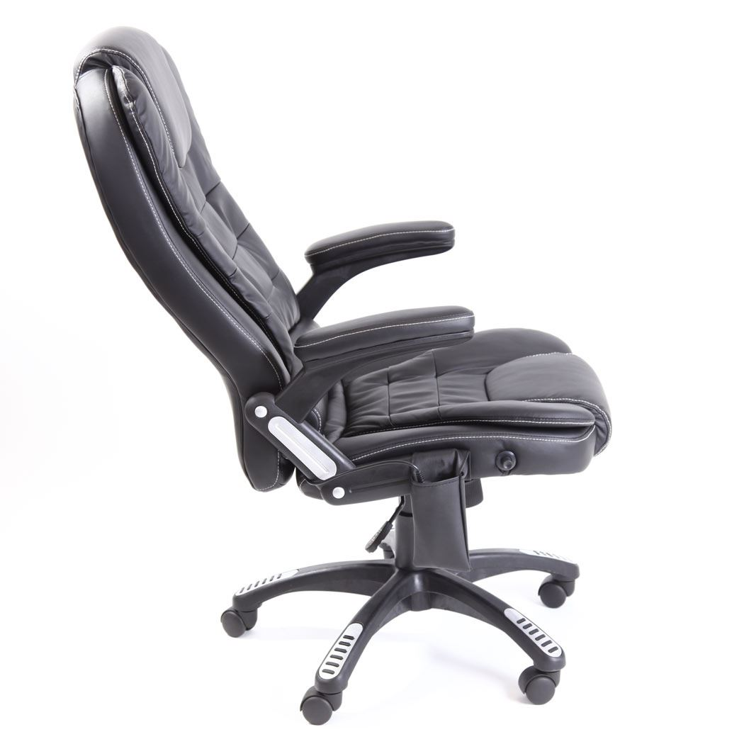 rio black leather reclining w 6 point massage heat high